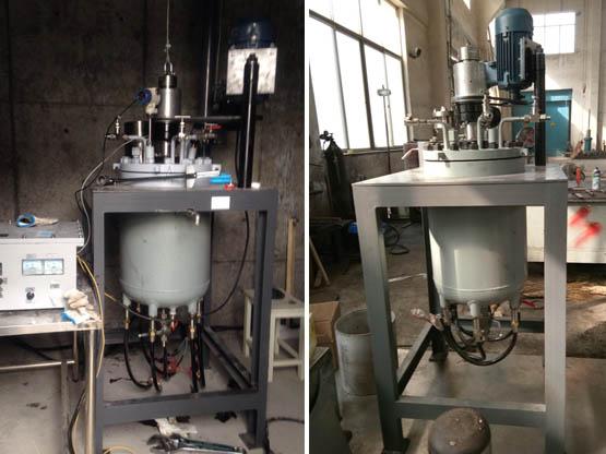 公司自主研发设计的原料药中试合成用50L氢化反应釜